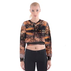 Aurora Sunset Sun Landscape Women s Cropped Sweatshirt