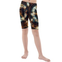 Science Fiction Energy Background Kids  Mid Length Swim Shorts