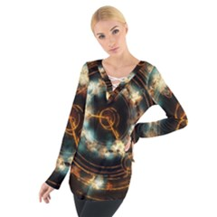 Science Fiction Energy Background Women s Tie Up Tee