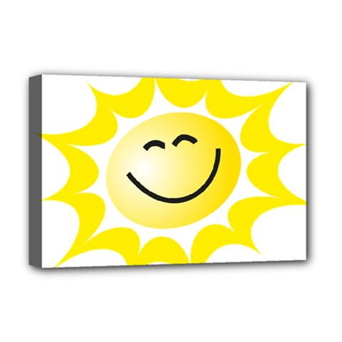 The Sun A Smile The Rays Yellow Deluxe Canvas 18  x 12