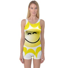 The Sun A Smile The Rays Yellow One Piece Boyleg Swimsuit