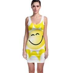 The Sun A Smile The Rays Yellow Sleeveless Bodycon Dress