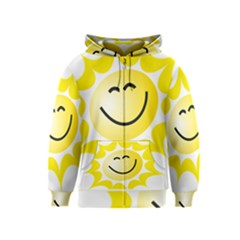 The Sun A Smile The Rays Yellow Kids  Zipper Hoodie