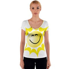 The Sun A Smile The Rays Yellow Women s V-Neck Cap Sleeve Top