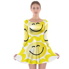 The Sun A Smile The Rays Yellow Long Sleeve Skater Dress