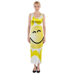 The Sun A Smile The Rays Yellow Fitted Maxi Dress