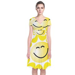 The Sun A Smile The Rays Yellow Short Sleeve Front Wrap Dress