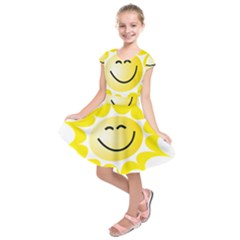 The Sun A Smile The Rays Yellow Kids  Short Sleeve Dress