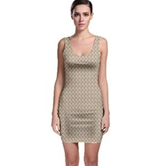 Pattern Ornament Brown Background Sleeveless Bodycon Dress