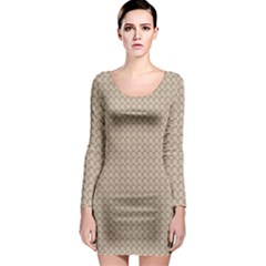 Pattern Ornament Brown Background Long Sleeve Bodycon Dress