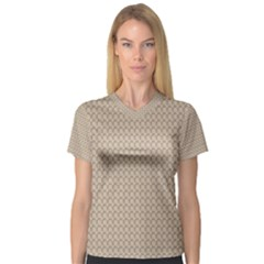 Pattern Ornament Brown Background Women s V Neck Sport Mesh Tee