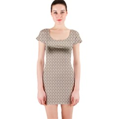 Pattern Ornament Brown Background Short Sleeve Bodycon Dress