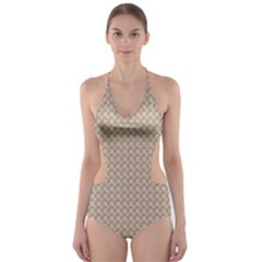 Pattern Ornament Brown Background Cut Out One Piece Swimsuit