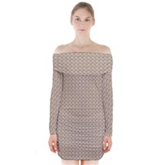 Pattern Ornament Brown Background Long Sleeve Off Shoulder Dress