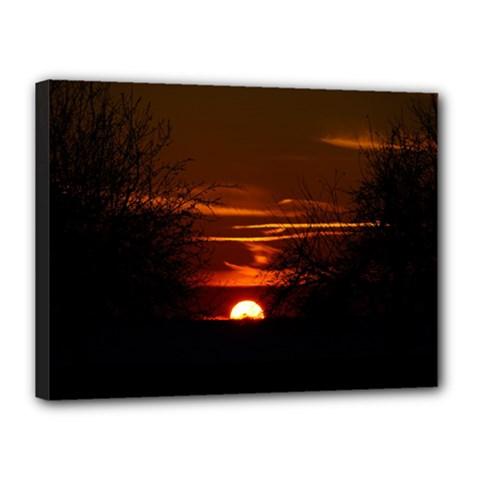 Sunset Sun Fireball Setting Sun Canvas 16  X 12