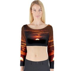 Sunset Sun Fireball Setting Sun Long Sleeve Crop Top