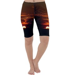 Sunset Sun Fireball Setting Sun Cropped Leggings