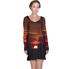 Sunset Sun Fireball Setting Sun Long Sleeve Nightdress