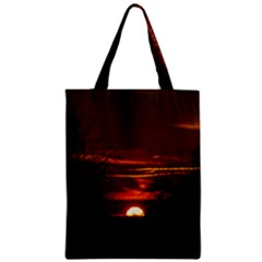 Sunset Sun Fireball Setting Sun Zipper Classic Tote Bag