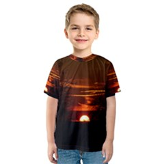Sunset Sun Fireball Setting Sun Kids  Sport Mesh Tee