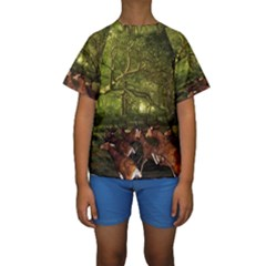 Red Deer Deer Roe Deer Antler Kids  Short Sleeve Swimwear