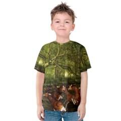 Red Deer Deer Roe Deer Antler Kids  Cotton Tee