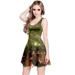 Red Deer Deer Roe Deer Antler Reversible Sleeveless Dress