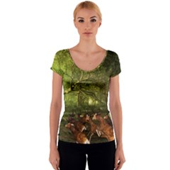 Red Deer Deer Roe Deer Antler Women s V-Neck Cap Sleeve Top