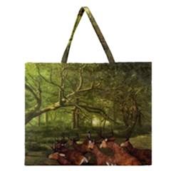 Red Deer Deer Roe Deer Antler Zipper Large Tote Bag