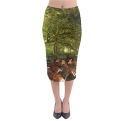 Red Deer Deer Roe Deer Antler Midi Pencil Skirt