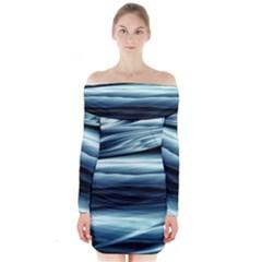 Texture Fractal Frax Hd Mathematics Long Sleeve Off Shoulder Dress
