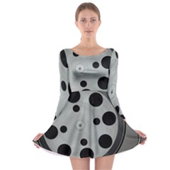 Turntable Record System Tones Long Sleeve Skater Dress