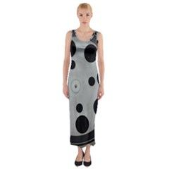 Turntable Record System Tones Fitted Maxi Dress