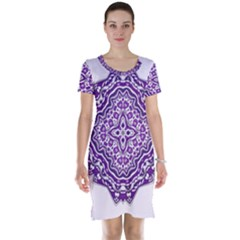 Mandala Purple Mandalas Balance Short Sleeve Nightdress