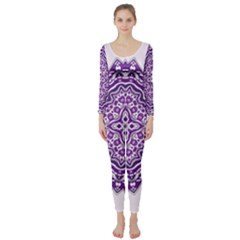 Mandala Purple Mandalas Balance Long Sleeve Catsuit