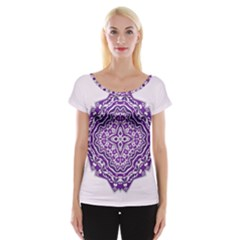 Mandala Purple Mandalas Balance Women s Cap Sleeve Top