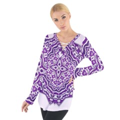 Mandala Purple Mandalas Balance Women s Tie Up Tee