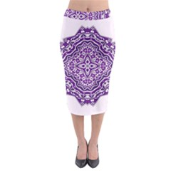 Mandala Purple Mandalas Balance Midi Pencil Skirt