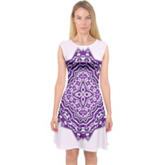 Mandala Purple Mandalas Balance Capsleeve Midi Dress