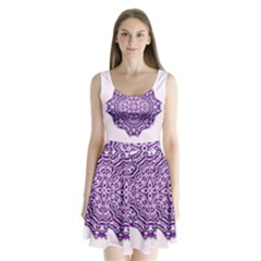 Mandala Purple Mandalas Balance Split Back Mini Dress