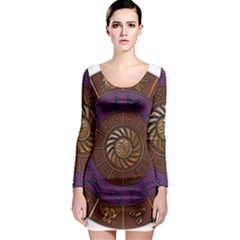 Zodiak Zodiac Sign Metallizer Art Long Sleeve Bodycon Dress