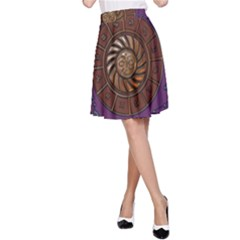 Zodiak Zodiac Sign Metallizer Art A-Line Skirt