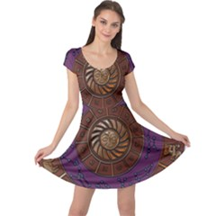 Zodiak Zodiac Sign Metallizer Art Cap Sleeve Dresses