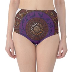 Zodiak Zodiac Sign Metallizer Art High-Waist Bikini Bottoms