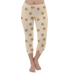 Pattern Gingerbread Star Capri Winter Leggings
