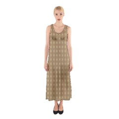 Pattern Background Brown Lines Sleeveless Maxi Dress