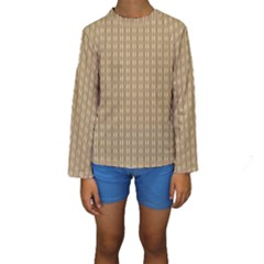 Pattern Background Brown Lines Kids  Long Sleeve Swimwear