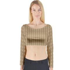 Pattern Background Brown Lines Long Sleeve Crop Top
