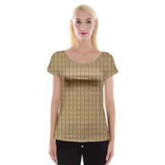 Pattern Background Brown Lines Women s Cap Sleeve Top