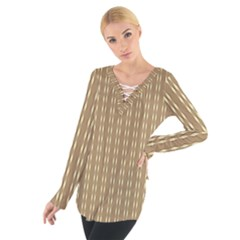 Pattern Background Brown Lines Women s Tie Up Tee